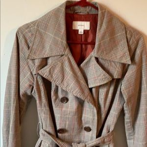 Brown Patterned Trench Coat w/Belt